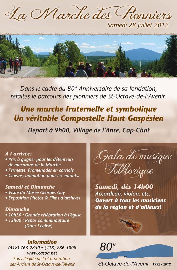 Marche des Pionniers - Célébrations 2012